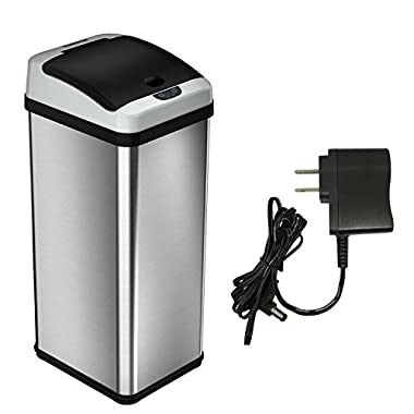 iTouchless 13 Gallon Automatic Sensor Kitchen Trash Cans (Platinum Stainless Steel)