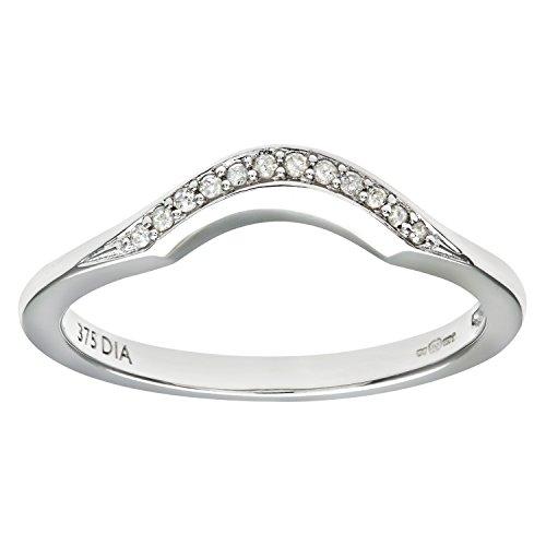 Naava Women's 9 ct White Gold Diamond Wishbone Eternity Ring