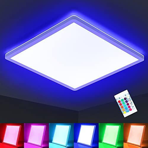 Oraymin RGB LED Deckenlampe Farbwechsel, 15W 1800LM LED Deckenleuchte Dimmbar, φ29cm, IP44 4000K und Hintergrundbeleuchtung Lampe für Wohnzimmer Kinderzimmer Schlafzimmer Büro Küche