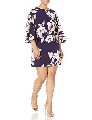 Eliza J Women's Plus Size Bell Sleeve Floral Dress, Navy/Blush