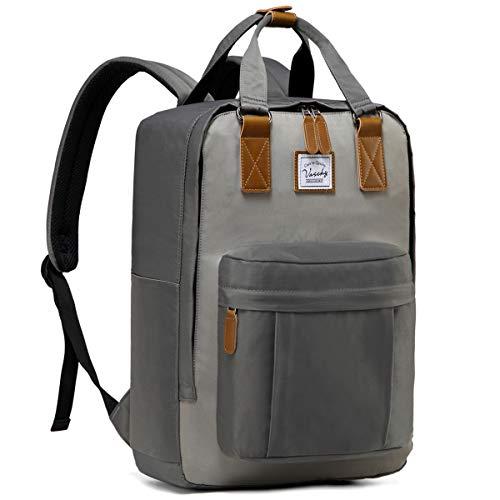 Schulrucksack Jungen, VASCHY Wasserabweisend 15 Zoll Laptop Schulranzen Vintage Rucksack für Teenager Mädchen Hochschule Herren Schultasche Casual Daypack Reiserucksack(Grau und Hellgrau)