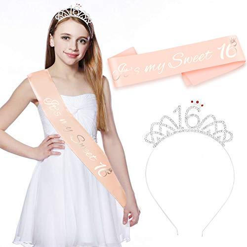 HOWAF Rose Gold It's My Sweet 16 Satin Schärpe 16. Geburtstag Schärpe + 16 Krone Haarreif Stirnband für 16. Geburtstag mädchen deko Accessoires Geschenk