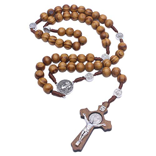 Oyria Handgemachte hölzerne Rosenkranz Perlen katholische Kreuz Halskette perfekte katholische Geschenke Medaille & Kreuz Rosenkranz für Männer und Frauen