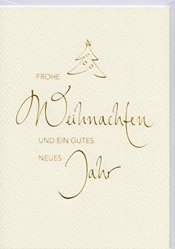 Weihnachtskarten 5er Pack Schrift gold auf Creme Din A6