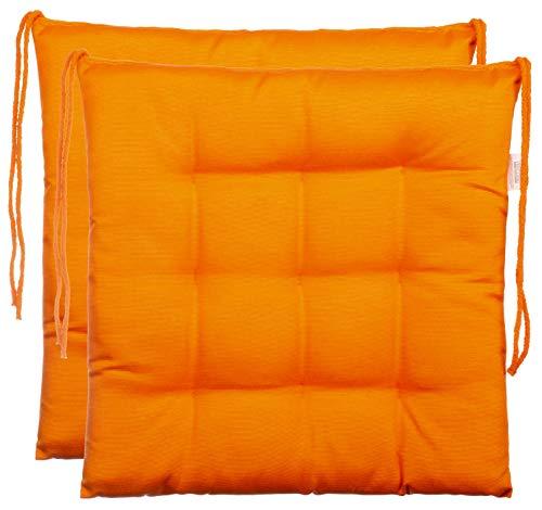 Brandsseller Sitzkissen Dekokissen Stuhlkissen Zierkissen Gartenkissen - 9er Steppung- in Verschiedene Motive (2er-Paket, Orange)