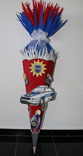Walter Creativ Bastelset Schultüte Zuckertüte Polizei mit 3-D XXL Motiven Design 2 rot/blau