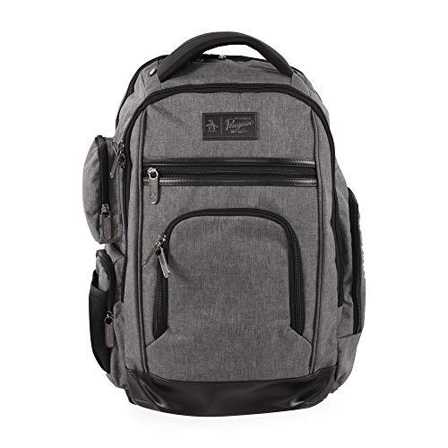 Original Penguin Men's Fletcher Laptop Backpack, Grey Crosshatch, 19 in