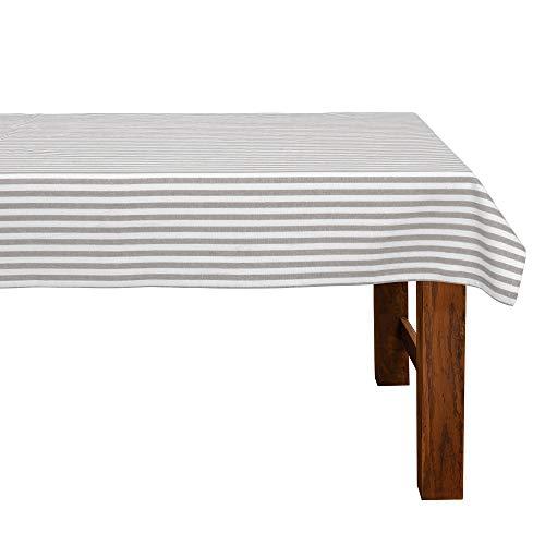 FILU Tischdecke 130 x 160 cm Grau/Weiß gestreift (Farbe und Größe wählbar) - hochwertig gefertigtes Tischtuch aus 100% Baumwolle