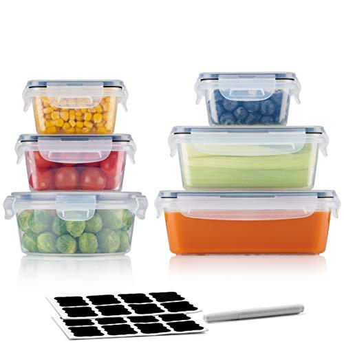 A&S KITCHEN Lot de 6 boîtes à repas avec couvercles empilables, étanches, hermétiques, durables - Passent au micro-ondes, lave-vaisselle et congélateur