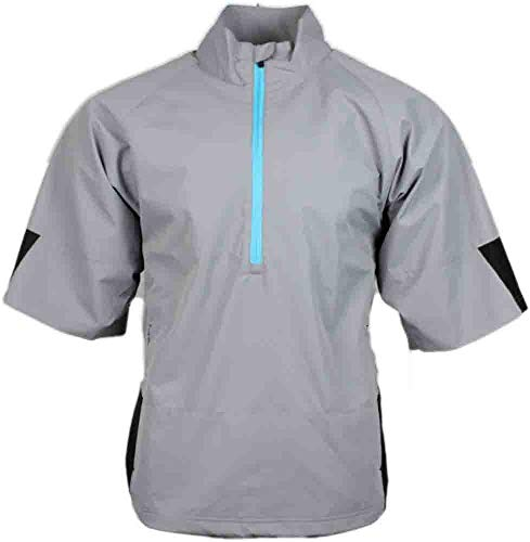 Page and Tuttle Mens Short Sleeve Colorblock Windshirt Golf Athletic Outerwear Jacket, Grey, M