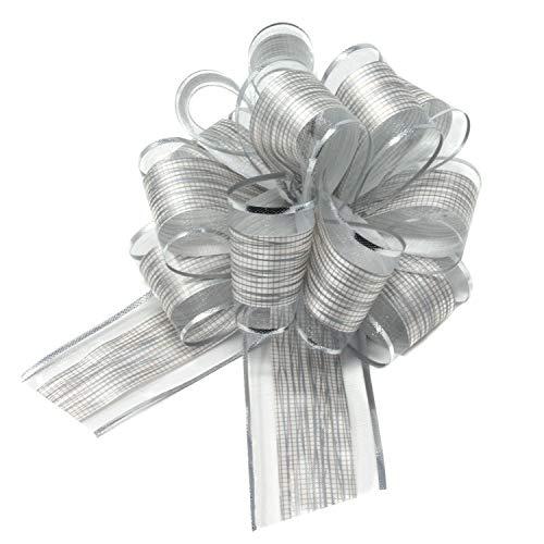 Oblique Unique® Geschenk Schleife mit Geschenkband Glänzend für Geschenke Tüten Zuckertüten Weihnachten zum Basteln Dekorieren Verzieren (Silber)