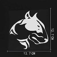 車のステッカーの装飾 12.7CMX12.7CM楽しい部族・ブル・テリア犬デカールビニール車ステッカーブラック/シルバー (Color Name : Silver)