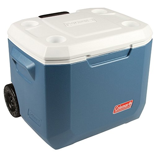 Coleman 50Qt Xtreme Wheeled Cooler Hard Shell Passive Cooler - Blue/White