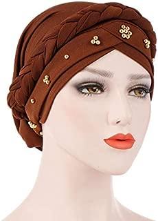 Trendy Beaded Women Muslim Hijab Hat Bohemia Style Lady Turban Cap Beanie