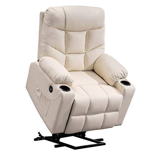 Mcombo Elektrische Aufstehhilfe Fernsehsessel Relaxsessel mit 2 USB, PU-Leder 7288CW(Cremeweiß)