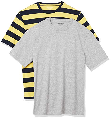 Amazon Essentials 2-Pack Crewneck T-Shirts Fashion, Raya de Rugby Amarilla y Azul...