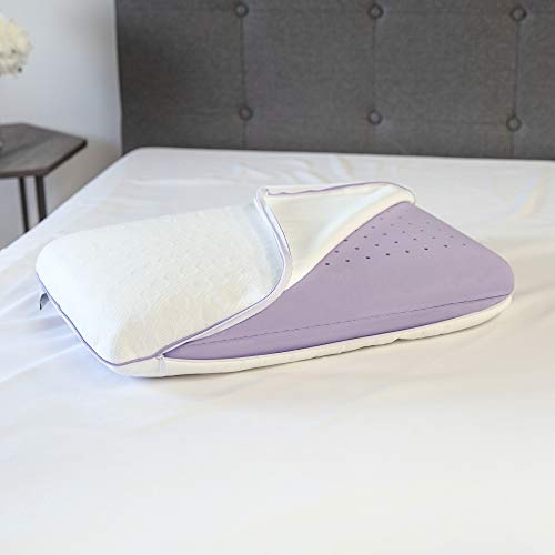 SensorPEDIC Lavender Bed Pillow, Standard, White/Purple