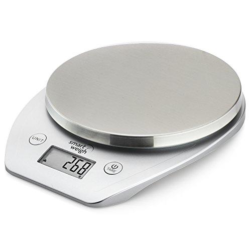 Smart Weigh Bilancia digitale multifunzione da cucina e per cibo con piattaforma in acciaio inossidabile, grande schermo LCD e sei modalità di pesatura, 5kg/11lb x 1g/0,1oz