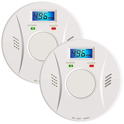 2 Pack Combination Photoelectric Smoke Alarm and Carbon Monoxide Detector Digital Display, Protect Your Home from Fire and Gas Leaks, Battery Operated