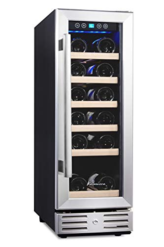 Kalamera 12'' Wine Cooler 19 Bottle Built-in or Freestanding with Stainless Steel & Double-Layer Tempered Glass Door and Temperature Memory Function