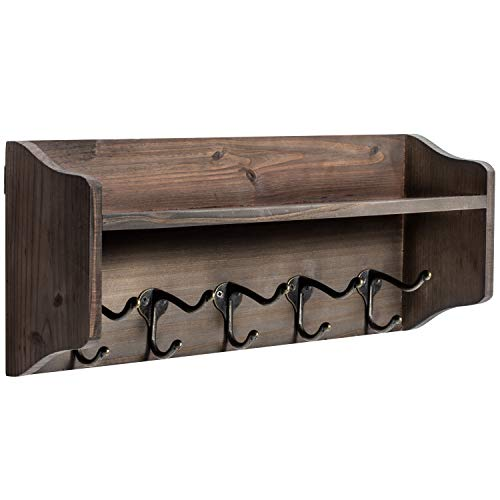 Coat Hooks with Shelf Wall-Mounted, Rustic Wood Entryway Shelf with 5 Vintage Metal Hooks, Farmhouse...