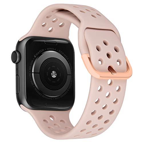 MroTech Correa Compatible para iWatch 44mm 42mm Watch Band Correas de Reloj Silicona Suave Banda Deporte de Reemplazo Pulseras de Repuesto para iWatch Series 6/SE 5 4 3 2 1 42/44 mm Rosado