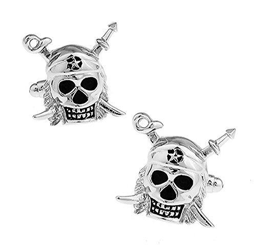 Skull und Schwerter Manschettenknöpfe. Neuheit, Pirat, Halloween, Party