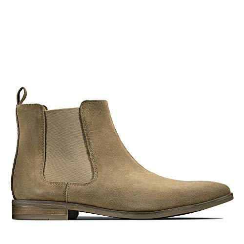 Clarks Herren Stanford Top Chelsea Boots, Beige (Dark Sand Suede Dark Sand Suede), 44.5 EU