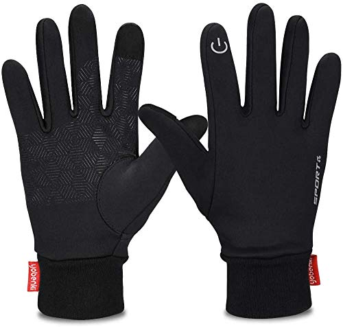 Yobenki Winter Gloves, Cycling GlovesTouch Screen GlovesWindproof Warm Gloves for Cycling Riding Running Skiing and Winter Outdoor Activities Men & Women (Black, M)