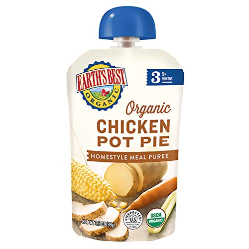 Earth's Best Organic Stage 3 Baby Food, Chicken Pot Pie Dinner, Non GMO Ingredients, 4 grams of Protein, 3.5 Oz Resealable Pouch (Pack of 6)