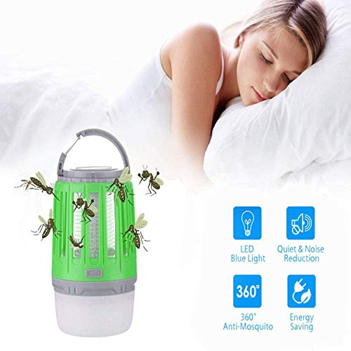 upstartech UV Insektenvernichter,2in1Elektrisch UV Lampe Moskito Killer,Mückenkiller LED Campinglampe Zeltlampe, USB Wiederaufladbar Transportable Strahlungsfrei Stumm Retractable Hook -IPX6
