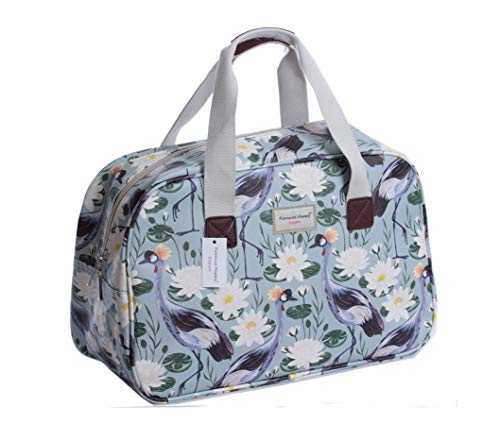 Oilcloth Holiday Travel Weekender Tote Bag Handbag Floral Owl Stripe Print (Large, Crane Bird Water Lily)