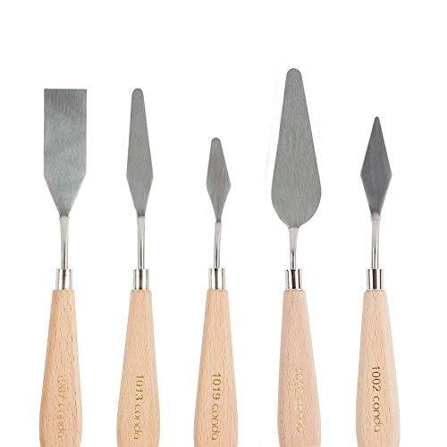 CONDA(コンダ) ペインティングナイフ パレットナイフ スパチュラ5本セット ステンレス製 木製 ハンドル アクリル塗料 ペインティングナイフ 油絵 水彩画 適用 絵の具