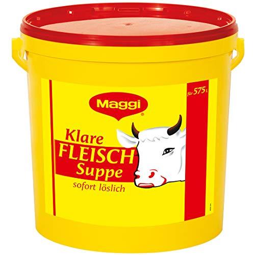 Maggi Klare Fleischsuppe (aus Fleischextrakt mit Kräutereinlage & fein gehacktem Gemüse, Sofort löslich) 1er Pack (1 x 12,5kg Eimer)