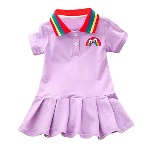 LANSKIRT Vestido de Manga Corta para Bebés Niñas Falda de Solapa Arcoiris Falda Plisada Color Sólido Ropa de Vestir Casual 1-6 años