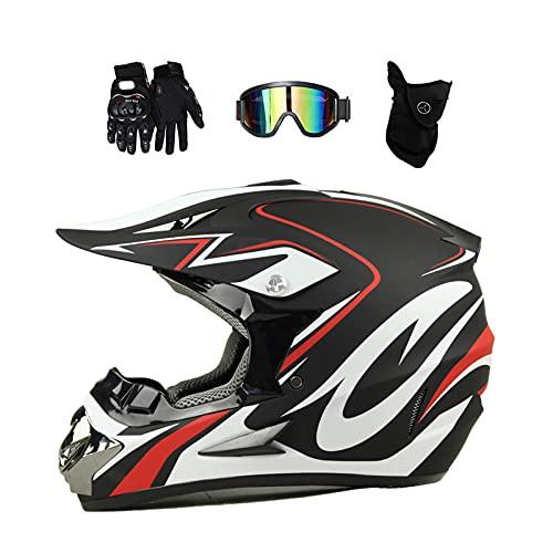 VOMI Casco Motocross Niño Blanco y Negro, Casco Moto Cross Adulto con Gafas/Máscara/Guantes para MX Quad Off Road ATV Scooter Enduro,S