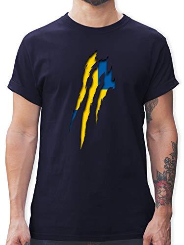 Länder - Schweden Krallenspuren - XXL - Navy Blau - t-Shirt schweden - L190 - Tshirt Herren und Männer T-Shirts