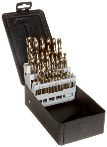 Precision Twist C29M40CO Cobalt Steel Short Length Drill Bit Set with Metal Case, Bronze Oxide Finish, 135 Degree Split Point, Inch, 29 piece, 1/16