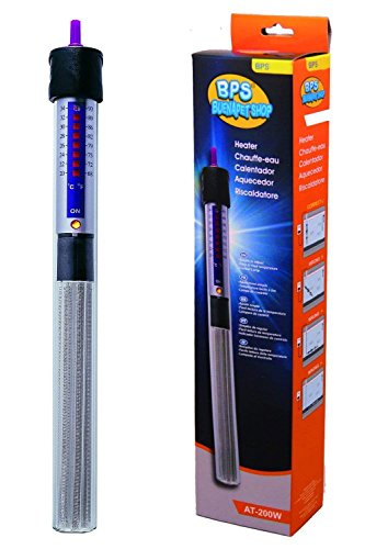 BPS (R) Calentador Sumergible 250W - 31.5cm para Pecera Calefacción de Varilla para Acuario Glass Tanque de Pescados con Ventosa  BPS-6055