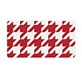 Extended Gaming Mouse Pad with Stitched Edges Waterproof Large Keyboard Mat Non-Slip Rubber Base Medium Dark Red And White Houndstooth Desk Pad for Gamer Office Home 16x10 Inch