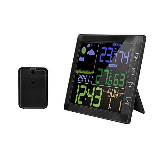 L.HPT Drahtlose Wetterstation Farbdisplay Digitales Thermometer Hygrometer Radiowecker Wecker Mit Außensensor Wettervorhersage Uhr Für Innen Und Außen
