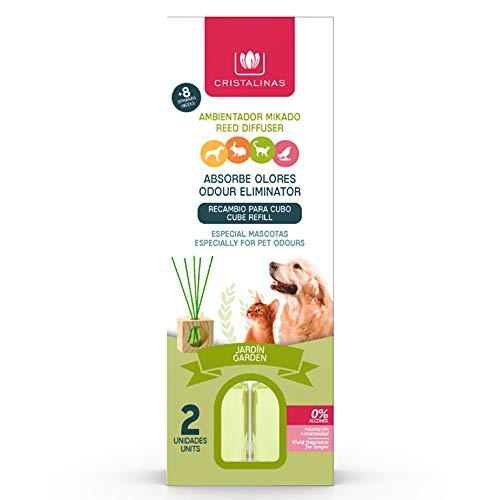 CRISTALINAS. Recambios Ambientador & Absorbe Olor Mikado para Mascotas. 0% Alcohol. Mas de 4+4 semanas de duracion. 2x30 ml. Aroma (Jardín) (Unidad)