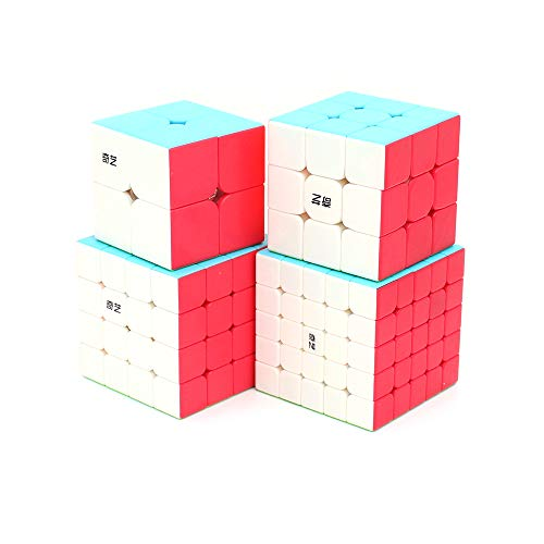 Cubelelo QiYi 2x2 3x3 4x4 & 5x5 Stickerless Combo Set Speedcubing Bundle Cubes Magic Puzzle 3