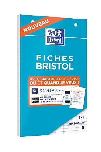 Bloc de FICHES BRISTOL 2.0 125x200mm perforées petits carreaux 5x5mm 30 fiches blanches
