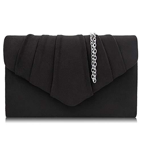 Milisente Clutch Damen, Elegante Wildleder Clutch Umschlag Crossbody Klassisch Clutch Tasche Abendtasche (Schwarz)