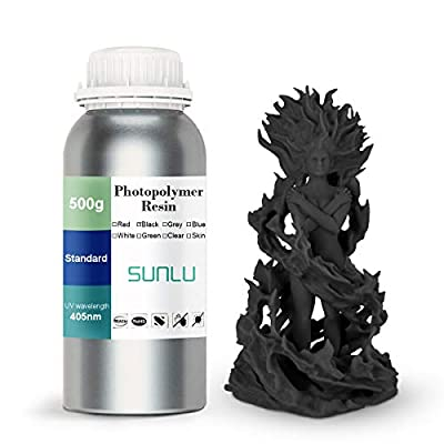 SUNLU 3D Printer Rapid Resin LCD UV-Curing Resin 405nm Standard Photopolymer Resin for LCD 3D Printing 500 gram, Black
