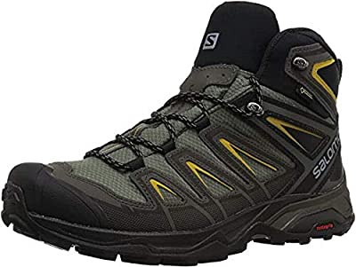 Salomon Men's X Ultra 3 MID GTX Hiking, Castor Gray/Black/Green Sulphur, 10