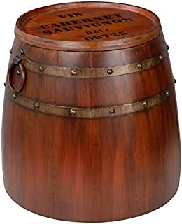 Design Toscano French Vineyard Decor Wine Barrel Side Table, 19 Inch, Full Color
