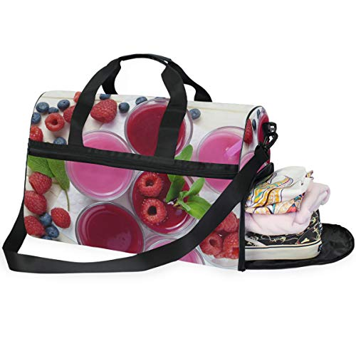 FAJRO Gym Bag Travel Duffel Express Weekender Bag Fresh Raspberry Juice Carry On Luggage with Shoe Pouch