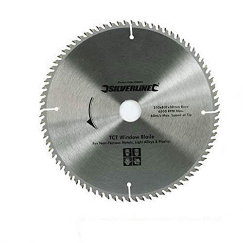 Silverline 598444 - Disco de TCT para ventanas de UPVC, 80 dientes (250 x 30 - anillos de 25, 20 y 16 mm)